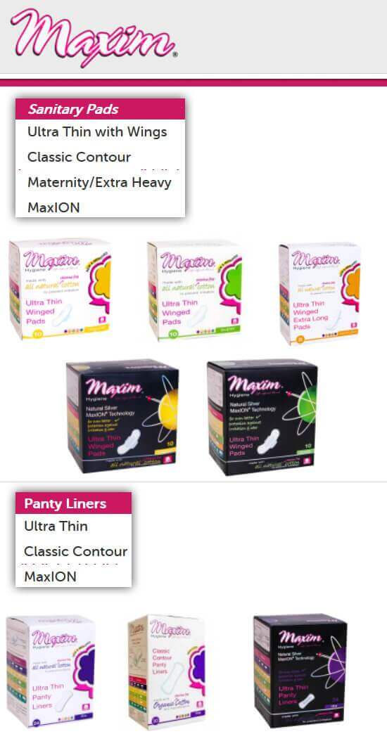 70fea1c7b05c Maxim's pads referred to by them as sanitary napkins, are NOT organic;  however, we included them on this list because they're made with natural,  ...