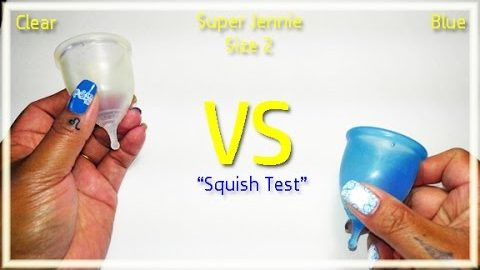 "Super Jennie Size 2 Clear vs Blue ""Squish Test"" - Menstrual Cup"